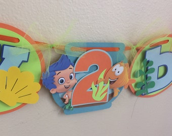 Bubble guppies birthday banner etsy boys bubble guppie birthday banner bubble guppies party decor maxwellsz