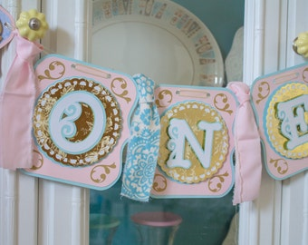 Victorian Romance ONE Banner, High Chair Banner, Photo Prop Banner, Marie Antoinette Party, Shabby Chic Banner.