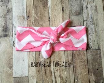 Pink Chevron - Knotted Headband - Baby Head Wrap - Jersey Knit