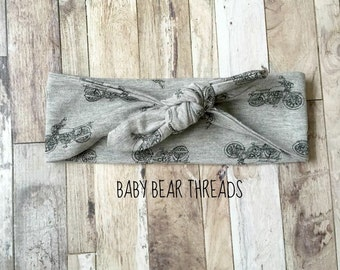 Motorcycles Grey and Black - Knotted Headband - Baby Head Wrap - Jersey Knit