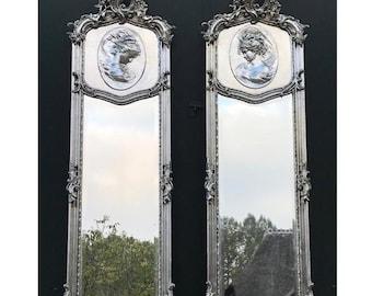 Baroque Mirror Antique Mirror Rococo Silver Leaf French Mirror Floor Woman Face Mirror Interior Design *Set of 2*