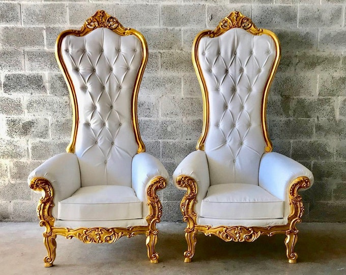 Featured listing image: White Throne Chair White Leather *2 LEFT* Chair French Chair Throne Chair Tufted Gold Throne Chair Rococo Interior Design
