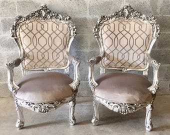 Antique Chair Silver Leaf Italian Baroque Furniture Rococo Interior Design Upholstery French Chair Antique Wingback Chair Rococo Furniture