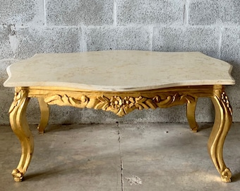Baroque Coffee Table Beige Marble Table French Table Rococo Table Baroque Table French Furniture Table Antique Furniture Gold Coffee Table