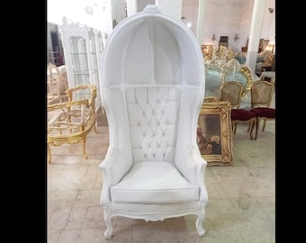 French Balloon Chair White Lacquer with White Leather Throne Chair *2 Available* High-Back French Canopy Chair White Leather Interior Design