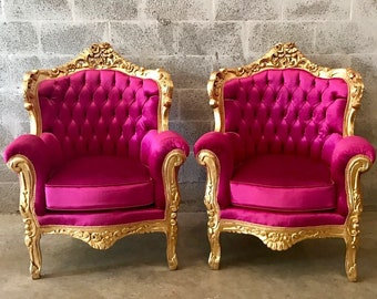 SOLD* French Furniture Antique Throne Chair Tufted Pink French Chair French Louis XVI Tufted Chair Pink Velvet Chair Italian Baroque Roco