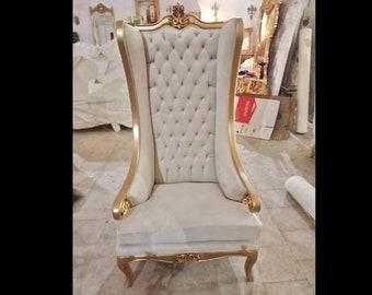 White Throne Chair Off-White Velvet Chair *2 LEFT* French Chair Throne Beige Velvet Chair Tufted Gold Throne Chair Rococo Vintage Chair