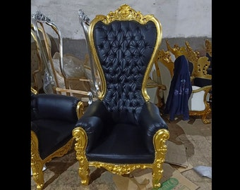 Gold Throne Chair Black Leather Chair French Tufted Chair Throne Black Leather Chair Tufted Gold Frame Throne Chair Rococo Interior Design