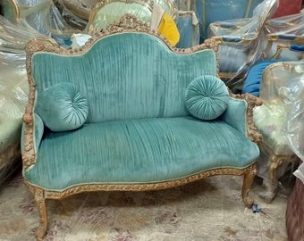 French Marquise French Furniture French Settee Baroque Furniture Rococo Settee French Tufted Settee Teal Distressed Velvet Interior Design