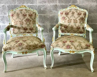French Green Minty Chair French Antique Furniture Louis XVI Fauteuil Wingback Rococo Baroque Green Minty Frame Gold Leaf Accent Gild Shabby