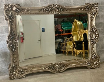 French Mirror Silver Antique Leaf *Only 1 LEFT* Interior Design Baroque Mirror Rectangular French 7.5'W x 5.5'H Rococo Silver Mirror