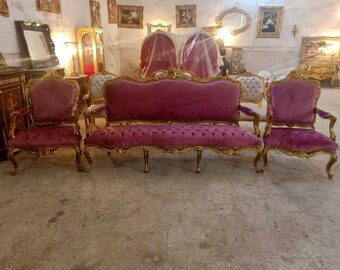 French Chair Vintage Chair *3 Piece Set Available* Velvet Purple Vintage Furniture Purple Chair French Interior Design Purple Settee French