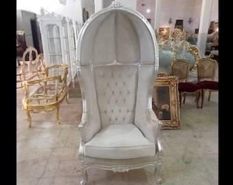 French Balloon Chair Off-White Beige Throne Chair *2 Available* High-Back French Canopy Silver Leaf Chair Cream Velvet Interior Design