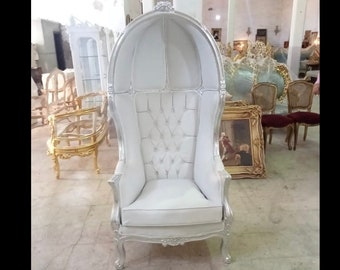 French Balloon Silver with White Leather Throne Chair *2 Available* High-Back French Canopy Silver Leaf Chair White Leather Interior Design