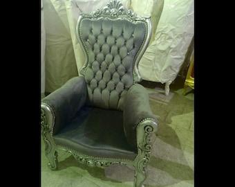Silver Children Throne Chair Gray Velvet *2 LEFT* French Children Chair Throne Gray Velvet Tufted Silver Throne Chair Rococo Vintage Chair