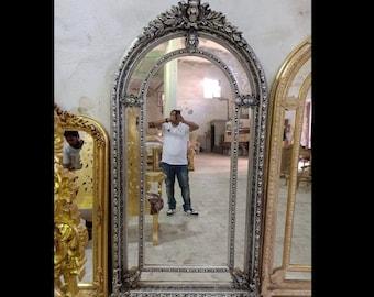 "French Mirror Silver Leaf Dark Vintage Mirror French Furniture 88""H x 47""W Floor Mirror Rococo Baroque Furniture Silver Vintage Mirror"