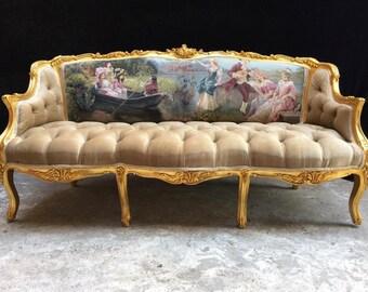 Baroque Throne Sofa Baroque Settee Vintage Furniture Vintage Sofa Rococo Velvet Tufted Gold Frame Interior Design