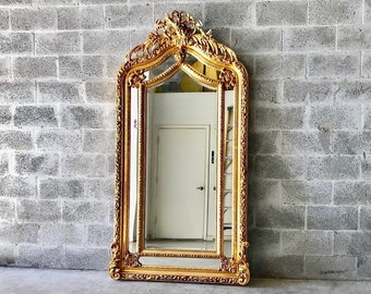 """French Mirror Gold Antique Floor Mirror Carved French Furniture 82""""H x 43.5""""W Louis XVI Mirror Rococo Baroque Furniture Gold Antique Mirror"""