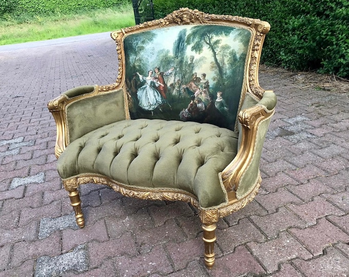 Featured listing image: French Chair Louis XVI Corbeille *2 Available* Vintage Furniture Tufted Velvet Green Chair French Tufted Chair New Padding tufted Fabric