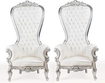 Silver Throne Chair White Leather Chair 2 Available French Tufted Chair Throne Chair Tufted Silver Frame Throne Chair Rococo Interior Design