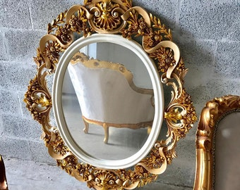 """French Mirror Oval Shape Mirror *1 Available* 41.5""""H x 47""""W White Gold Mirror French Furniture Rococo Baroque Wall Mirror Heavy Carved"""