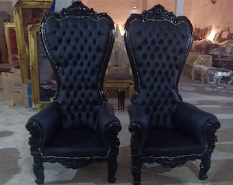 Black Throne Chair Black Leather Chair French Tufted Chair Throne Black Leather Chair Tufted Black Frame Throne Chair Rococo Interior Design