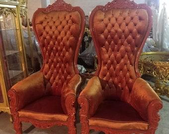 Mocha Latte Throne Chair velvet Chair *2 LEFT* French Chair Throne Mocha Latte Velvet Chair Tufted Throne Chair Rococo Vintage Chair