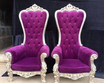 Purple Throne Chair Silver Frame *2 LEFT* Chair French Chair Throne Chair Tufted Gold Throne Chair Rococo Interior Design