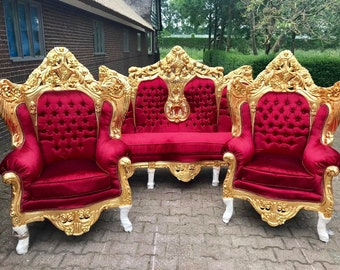 Rococo Throne Chair Antique Furniture Red Fabric Tufted Chair *5 Piece Set Avail* Gold Leaf French Chair Louis XVI French Furniture