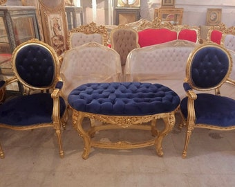 French Tufted Chair French Bench (3 Piece Set) Tufted Bench Vintage Furniture Antique Baroque Furniture Rococo Interior Design Vintage Chair