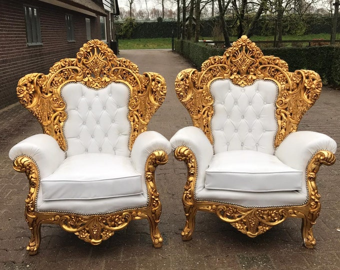 Featured listing image: Baroque Throne Chair Rococo Sofa *5 Pieces Availa Tufted Chair French Tufted Sofa Baroque Chair Furniture Rococo Chair Vintage White Leather