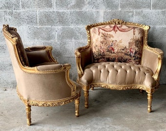 French Chair Louis XVI Corbeille *2 Available* Vintage Furniture Tufted Velvet Chairs French Tufted Chair New Padding tufted Fabric