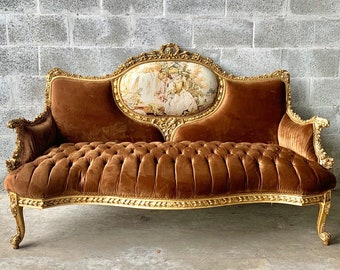French Sofa French Furniture Brown Sofa Tufted Settee Settee French Tufted Velvet Furniture Vintage Chair Rococo Furniture Baroque