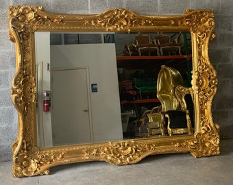 French Mirror Gold Frame Interior Design Baroque Mirror Rectangular French Furniture 7.5'W x 5.5'H Rococo Gold Mirror Vintage Mirror