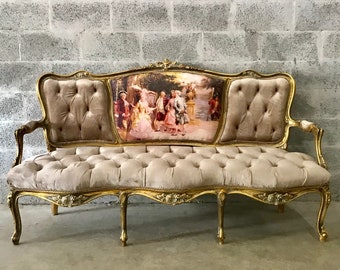 French Furniture French Settee Vintage Sofa Antique Furniture New Upholstery Interior Design Baroque Furniture Rococo French Chair