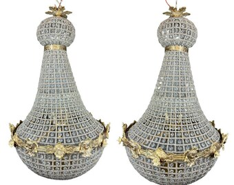 """French Chandelier Vintage 26""""H x 18""""W *2 Available* Vintage Furniture Antique Chandelier French Louis XVI Style Gold Beads Cherub Chandelier"""
