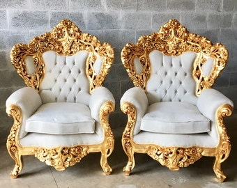 Baroque Throne Chair Rococo Tufted Chair French Tufted Sofa Baroque Chair Furniture Rococo Chair Antique Off White Velvet Tufted Chair