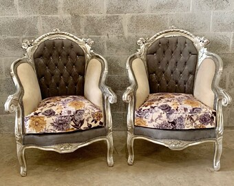 Italian Vintage Furniture Silver Gray Chair Baroque Tufted Chair Velvet Chair Cream Beige Rococo Furniture Baroque French Chair
