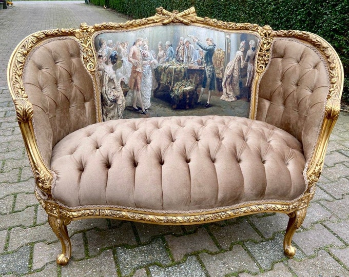Featured listing image: French Marquise Vintage Furniture Marquise Vintage Velvet Designer Upholstery Chair Tufted French Interior Design Baroque Furniture Rococo