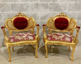 French Chair French Vintage Furniture *2 Available* Tufted Chair French Tufted Refinish New Fabric Interior Design