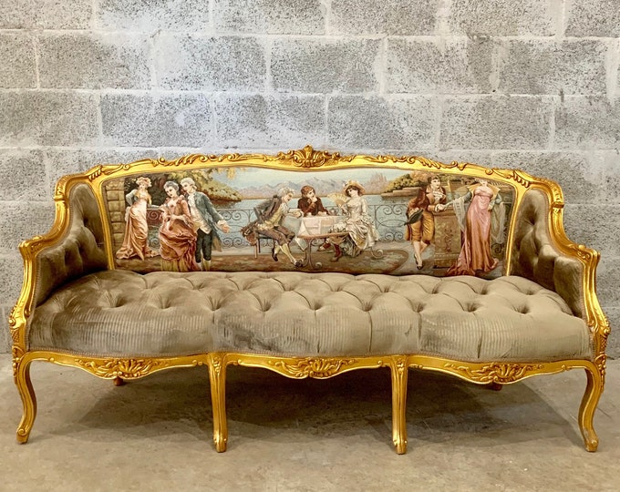 Featured listing image: Baroque Throne Sofa Baroque Settee Vintage Furniture Vintage Sofa Rococo Velvet Tufted Gold Frame Interior Design