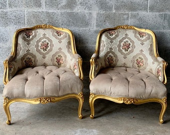 French Chairs French Tufted Chair Vintage Furniture *3 Piece Set Available* French Chair Vintage Chair Interior Design Corbeille Chair