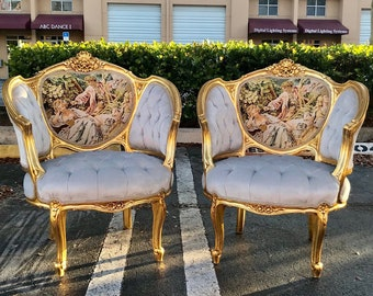SOLD* French Chair *2 Available Corbeille Furniture Tufted Chair French Vintage Chair Refinish Gold Leaf New Padding tufted Interior Design
