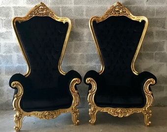 "Italian Baroque Throne Chair HighBack 74""H Gold Chair Tufted Black Velvet French Furniture Rococo Interior Design French Chair Tufted Chair"