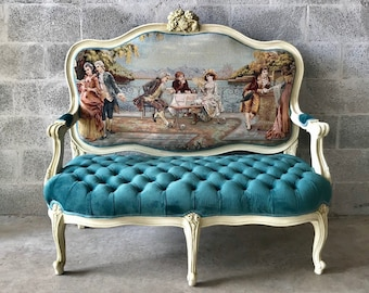 French Settee *Fast Shipping* French Marquise Louis XVI French Furniture Teal Velvet Tufted French Interior Design Baroque Furniture Rococo