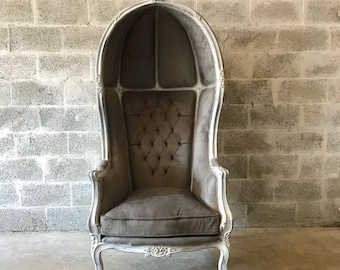 French Balloon Chair Throne Chair High-Back *1 Available* Reproduction Distressed White Tufted Grey  French Furniture Rococo Interior Design