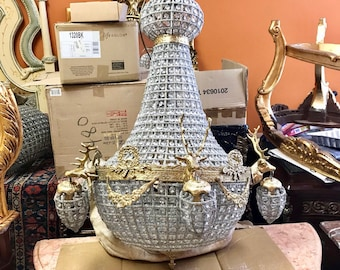 "Deer Stag Chandelier Extra X-LARGE French Stag Deer Head JUMBO *Rush Shipping* Basket Brass Empire Bowl 37""H x 28""W Interior Design Refinish"