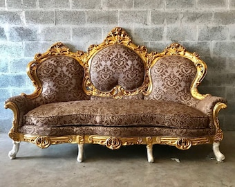 SOLD* Italian Baroque Furniture Rococo Sofa Style Throne Chair High Back Baroque Style Settee Interior Design French Furniture Gold Chair