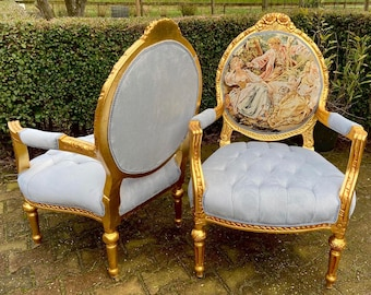 Vintage Chair French Chair Vintage Furniture Interior Designer *2 Chairs Available Baroque Furniture Rococo Fully Refinished Reupholstered