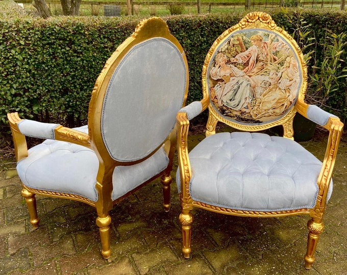 Featured listing image: Vintage Chair French Chair Vintage Furniture Interior Designer *2 Chairs Available Baroque Furniture Rococo Fully Refinished Reupholstered